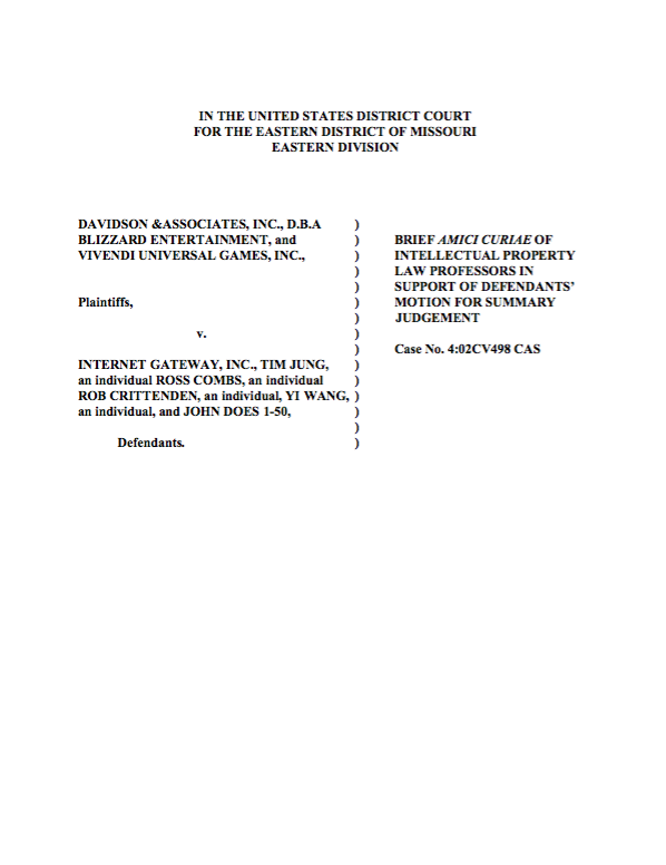 Davidson & Associates (Blizzard Entertainment) v. Internet Gateway Inc.